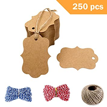 Amazon Com 250 Pcs Kraft Paper Gift Tags With 3 Styles Crafts