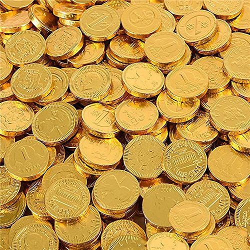 Chocolate Gold Coins - Large Bag of 19.18oz. Assorted Designs for Party Favors, Cake Decorations, Novelty Supplies or Treats for Halloween, New Year, St. Patrick's Day or Baby Showers by Kidsco ()