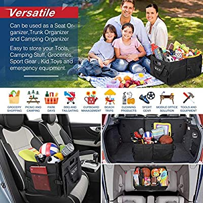 Large Collapsible Sturdy Boot Storage with Bonus Detachable Toolkit Multi-Compartment Pockets 2-IN-1 Handle Non-Slip Strips for Shopping Camping Stuff Tidy Storage ROYI Car Trunk Organiser
