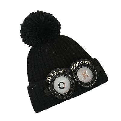 2017Luca Super Cute New Cute Baby Kids Girl Boy Cartoon Big Ball Warm Winter Knitted Cap Hat Beanie (Black)
