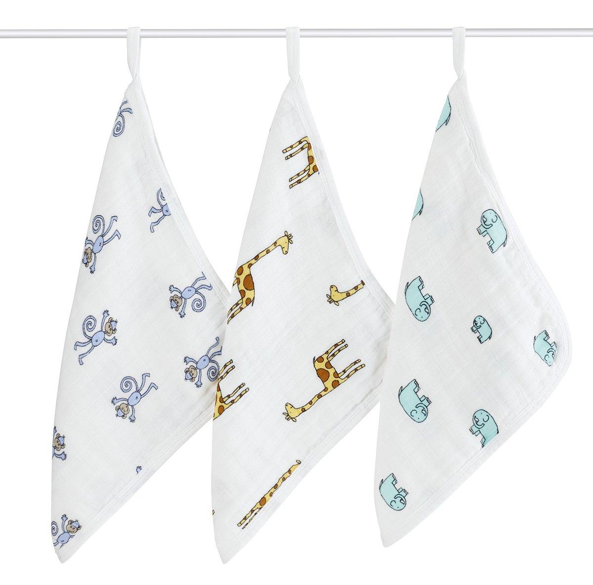 aden + anais washcloth set 3 pack, jungle jam