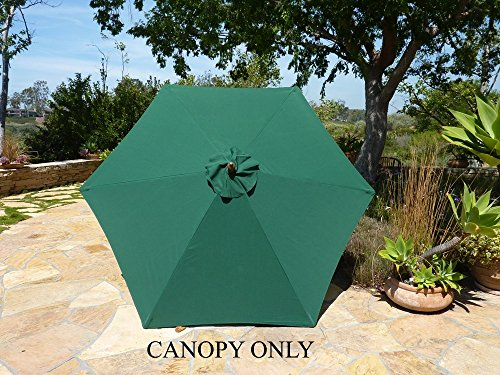 Formosa 9ft Umbrella Replacement Canopy 6 Ribs in Green (...