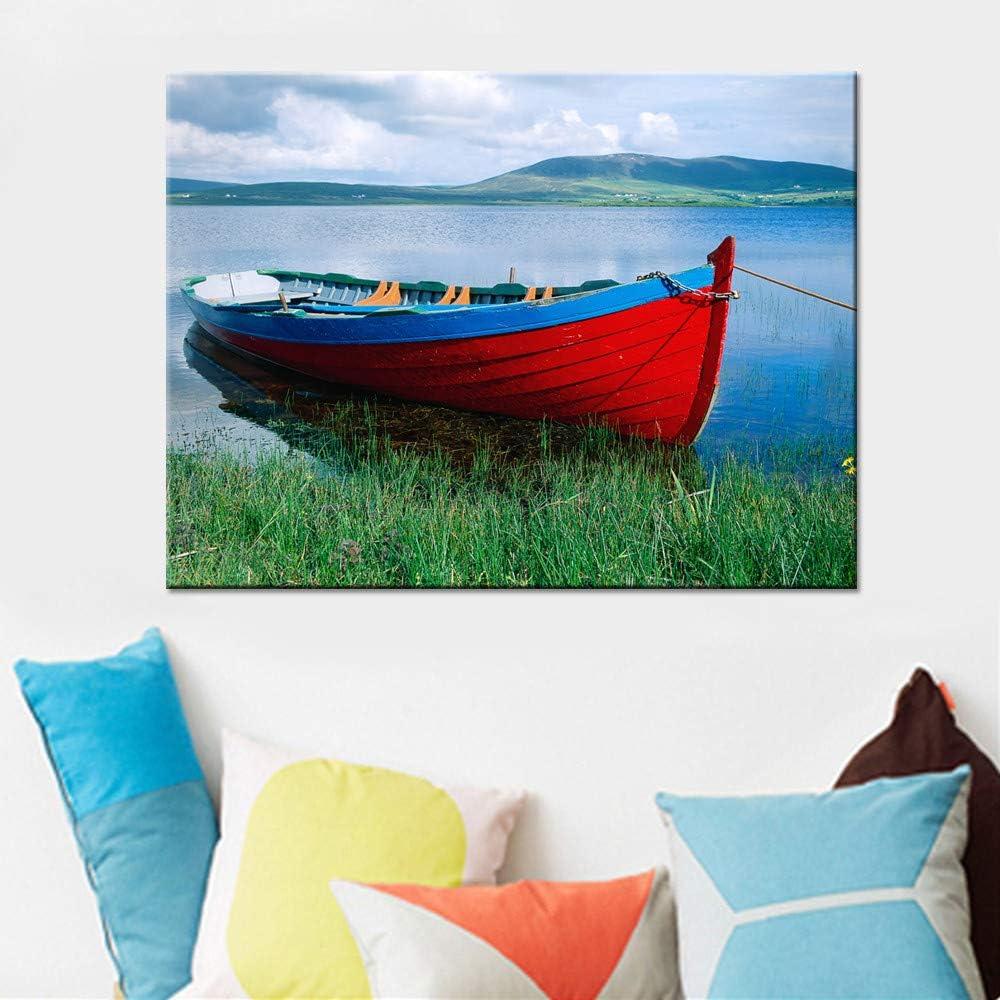 NIMCG Imprimir Imagen Barco Rojo en el Lago Paisaje Decoración ...