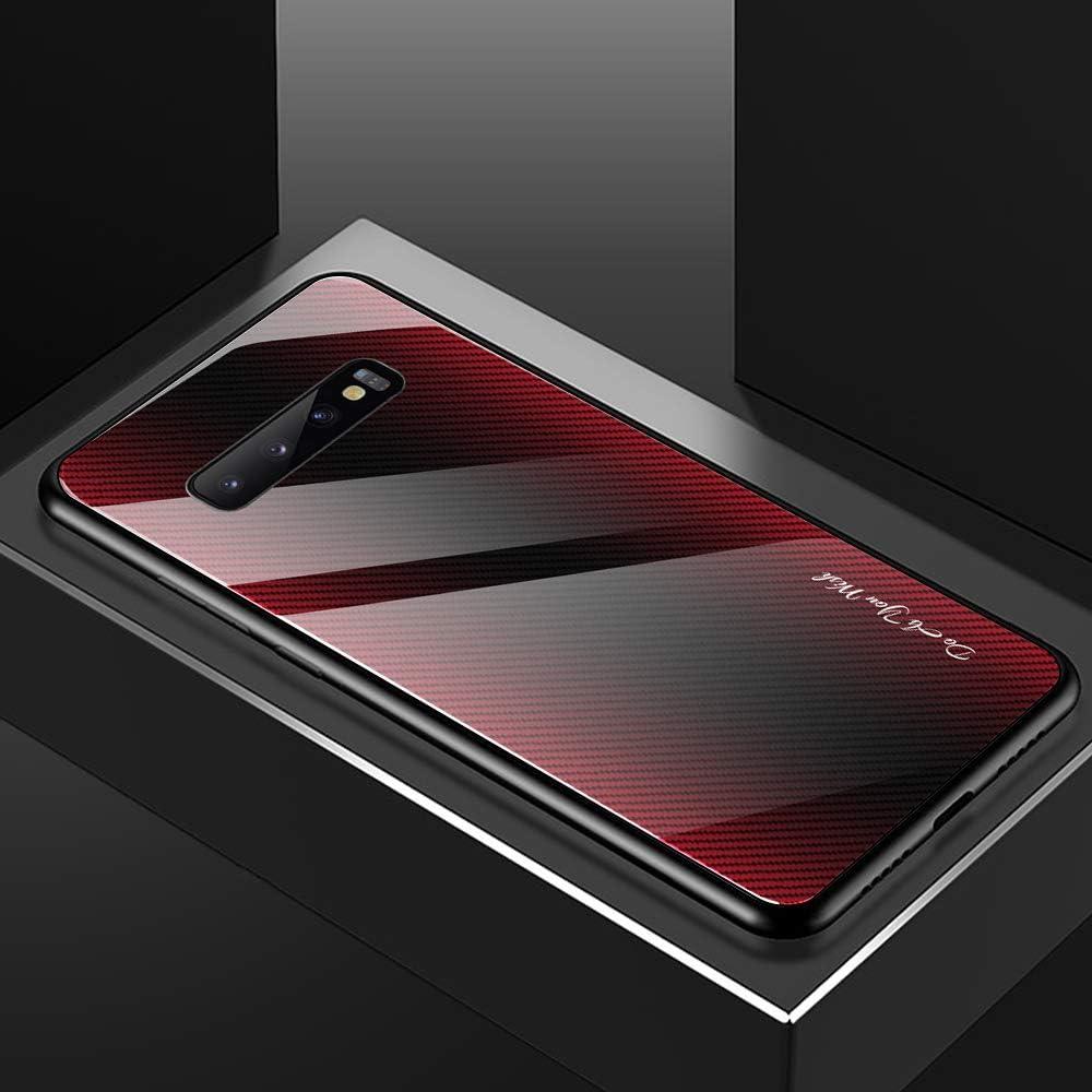 Kompatibel mit Samsung Galaxy S10 Plus H/ülle Zur/ück Gradient Geh/ärtetes Glas Harte Schale Schutzh/ülle Weich Silikonrahmen Handyh/ülle Farbverlauf Glash/ülle Anti-Fall Steigung Case