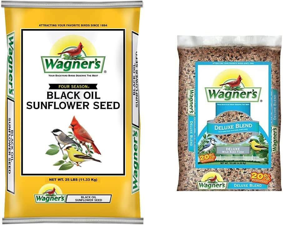 Wagner's 76027 Black Oil Sunflower Wild Bird Food, 25-Pound Bag & 13008 Deluxe Wild Bird Food, 10-Pound Bag, Basic