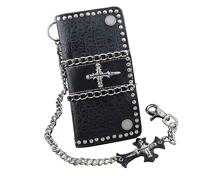Amazon.com: Cadena de metal cráneo cruz Rivet Studded Mens ...