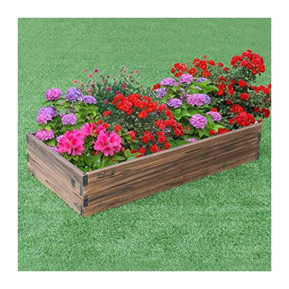 Giantex Raised Garden Bed Wood Outdoor Patio Vegetable Flower Rectangular Planter 3 🌻〖Ample Room for Planting〗- The overall dimension is 47''x24''x9''(LXWXH). This garden bed provides sufficient space for various plants growth like flowers or vegetables. Rectangular form bed which is easy and convenient for you to look after plants well inside it. 🌻〖Simple Assembling Work〗- Screws and assembly manual are included. Accurate and detailed assembling steps are presented in graphic form which is clear and easy to understand. 🌻〖Stable and Long-lasting Frame〗- This garden be is constructed with environmental friendly fir wood that is durable and stable enough to make plants grow healthily.