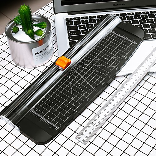Firbon A4 Paper Cutter 12 Inch Titanium Paper Trimmer Scrapbooking Tool with Automatic Security Safeguard for Craft Paper, Coupon, Label and Cardstock (Black) by Firbon (Image #5)