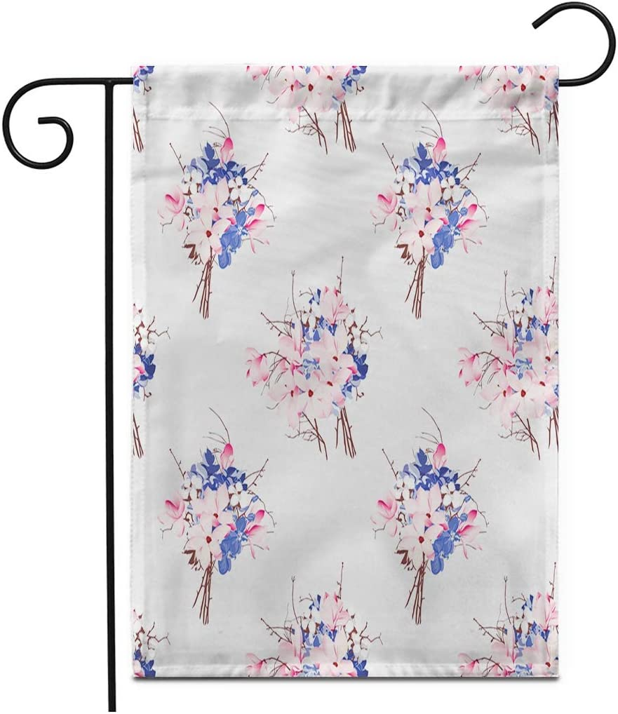 """Adowyee 28""""x 40"""" Garden Flag Brown Flowers French Pattern Magnolia Hydrangea Orchid Pink Aroma Outdoor Double Sided Decorative House Yard Flags"""