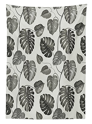 (vipsung Grey Decor Tablecloth Illusration of Tropical Palm Leaves in Classic Style Print with Soft Colors Nature Chic Home Dining Room Kitchen Rectangular Table Cover Ash Gray)