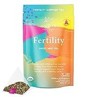 Pink Stork Fertility Tea: Sweet Mint, Red Raspberry Leaf Tea, 100% Organic, Fertility Tea for Women, Fertility Prenatal Vitamins, Hormones + Cycle, Women-Owned, 30 Cups
