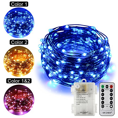 ErChen Battery Operated Dual-Color Led String Lights, 66FT 200 Leds Color Changing Dimmable 8 Modes Copper Wire Fairy Lights with Remote Timer for Indoor Outdoor Patio (Warm White, Blue) by ErChen