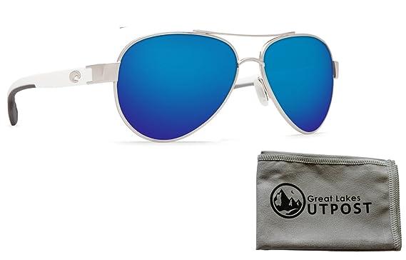3f1efb2592c Image Unavailable. Image not available for. Color  Costa del Mar Loreto Blue  Mirror 580P Palladium w White Temples Frame Sunglasses ...