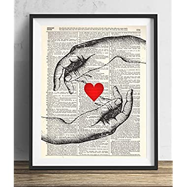 Hands With Heart Upcycled Vintage Dictionary Art Print 8x10