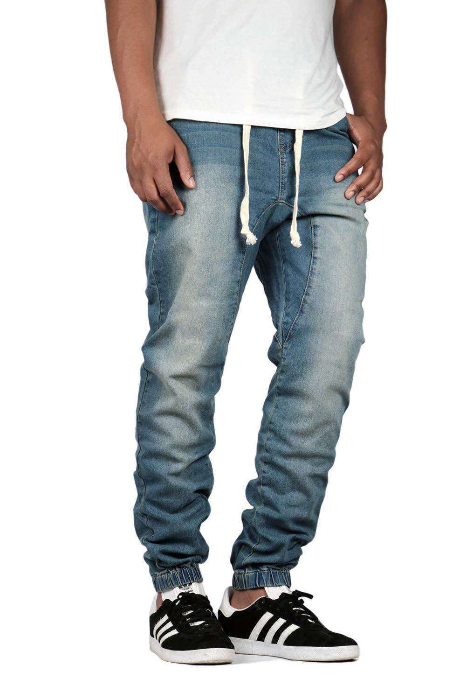 Men's Drop Crotch Denim Jogger Pants
