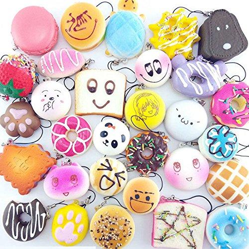 EVINIS 20Pcs Jumbo Medium Mini Random Squishy Soft Panda/Bread/Cake/Buns Phone Straps (20 Pcs) by EVINIS (Image #1)