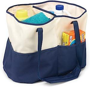 Homz All-Purpose Tote Bag, Canvas, Blue/Cream