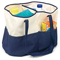 HOMZ 1220226 All-Purpose Tote Bag, Canvas, Blue/Cream Navy Blue