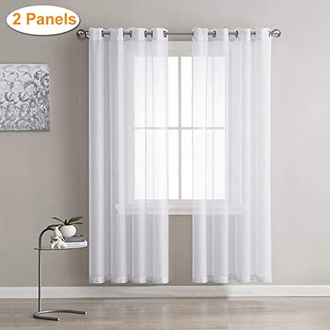 Cortinas Visillos Para Dormitorios.Lalafancy 2 Piezas Visillos Para Ventanas Cortinas Transparente