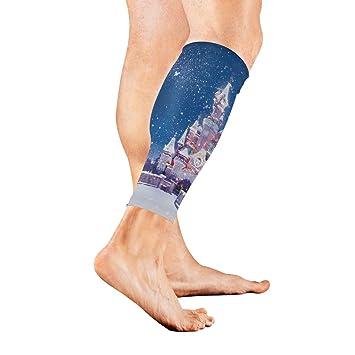 bb195b3382fa3c Leg Sleeve Santa Claus Sitting On The Moon Compression Socks Support Non  Slip Calf Sleeves Pads