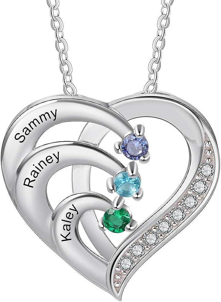Personalizada Collar Plata 925 Colgante de con Corazón Collar con 3 Nombres Grabados Madre e Hija Collar Regalo para Mujer Día de la Madre San Valentín Navidad
