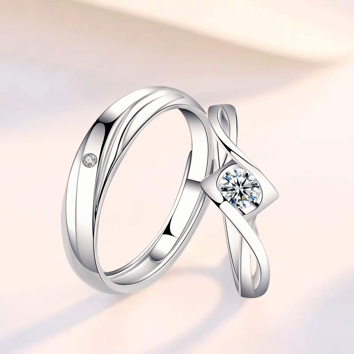 Promise Ring Engagement Ring Anniversary Ring Sunamy Endless Love Matching Couple Rings for Him and Her Set Adjustable 925 Sterling Silver Romantic Heart Design