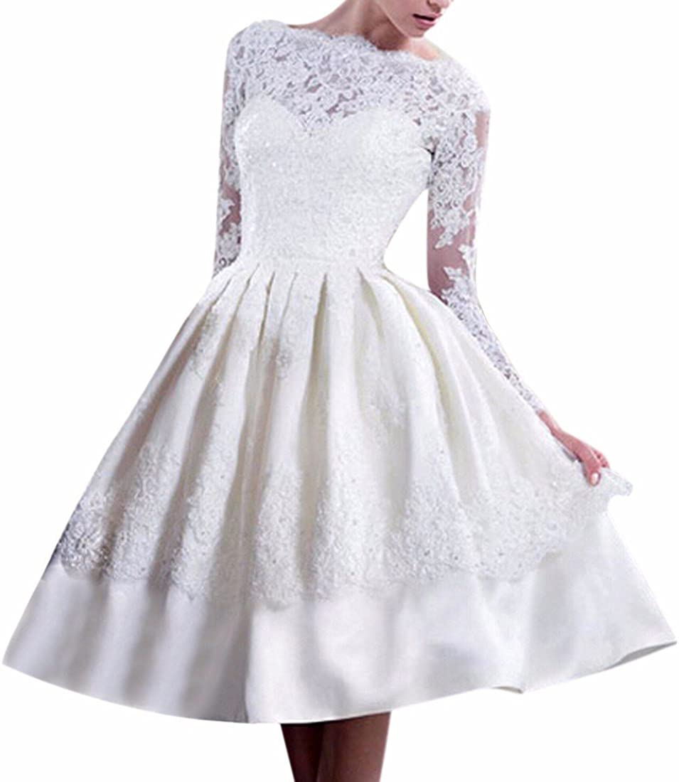 QIYUN.Z Donne Vestito Bianco A Maniche Lunghe Sposa Festa di Nozze Backless Abito in Tulle di Pizzo
