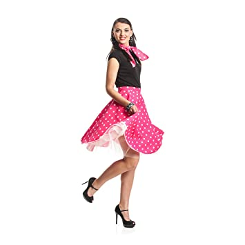 8280e2573094f4 Kostümplanet® Rock n Roll Rock Damen 50er Jahre Rockabilly Kostüm Tellerrock  mit Halstuch pink