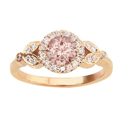 Amazoncom Morganite Ring Rose Gold Art Deco Ring Leaf