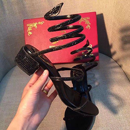 Zapatos alto Zapatos discoteca de Venda de Thick de tacón Sandalias tacón 5cm plata verano tacón tacón alto serpentina alto alto de de de de black de VIVIOO de Sandalias Rhinestone Sandalias 7pExUqOw