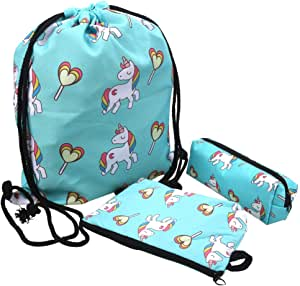 3 Pack Unicorn Gifts Set, Including Unicorn Drawstring Backpack, Makeup Bag and Pencil Case, Ideal Birthday Gifts for little Girls/Kids Age 5, 6, 7, 8, 9, 10, 11 Years Old
