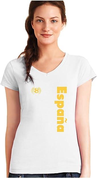 Green Turtle T-Shirts Camiseta de Cuello V para Mujer - Apoya a la Selección Española en el Mundial de Fútbol!: Amazon.es: Ropa y accesorios
