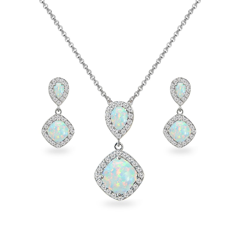 Sterling Silver Simulated Opal & White Topaz Dangle Earrings & Necklace Set