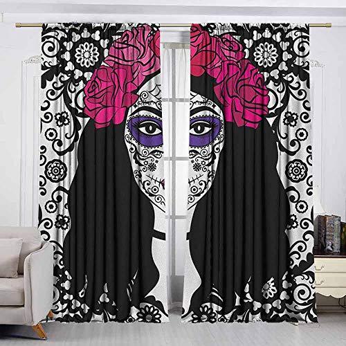 VIVIDX Sliding Door Curtain,Sugar Skull,Girl with Sugar Skull Make Up Dia De Los Muertos Traditional Art Print,Waterproof Patio Door Panel,W55x72L Inches Black White Pink -