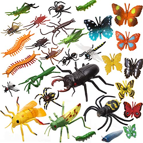 SAVITA 30pcs Fake Insects Figures Toy - Fake Spiders, Cockroaches, Crickets, Butterflies, Worms and More Multicolored Lifelike Insects for Kids Birthday Themed Party Halloween - Party Themed Ladybug