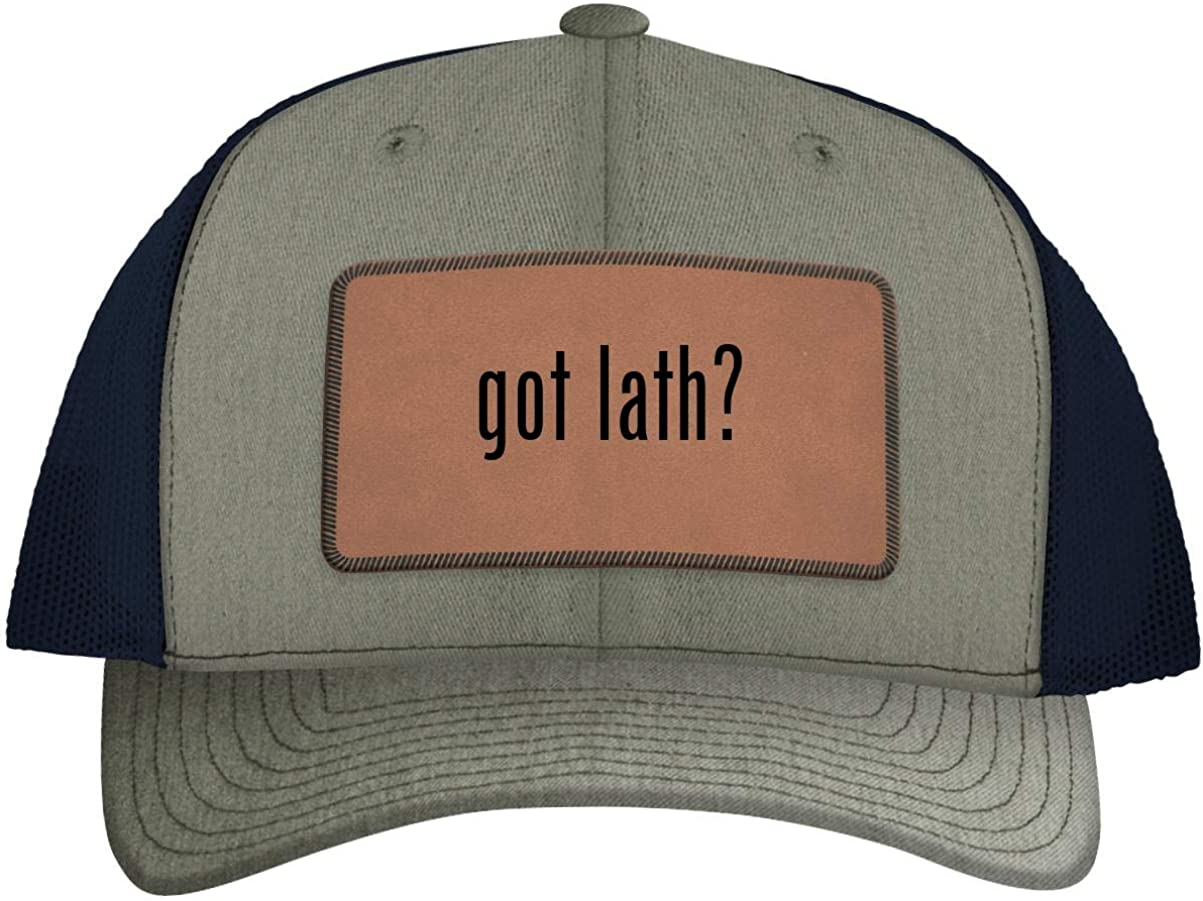 B083Q5D3T4 One Legging it Around got Lath - Leather Dark Brown Patch Engraved Trucker Hat 61ifAnjdcHL