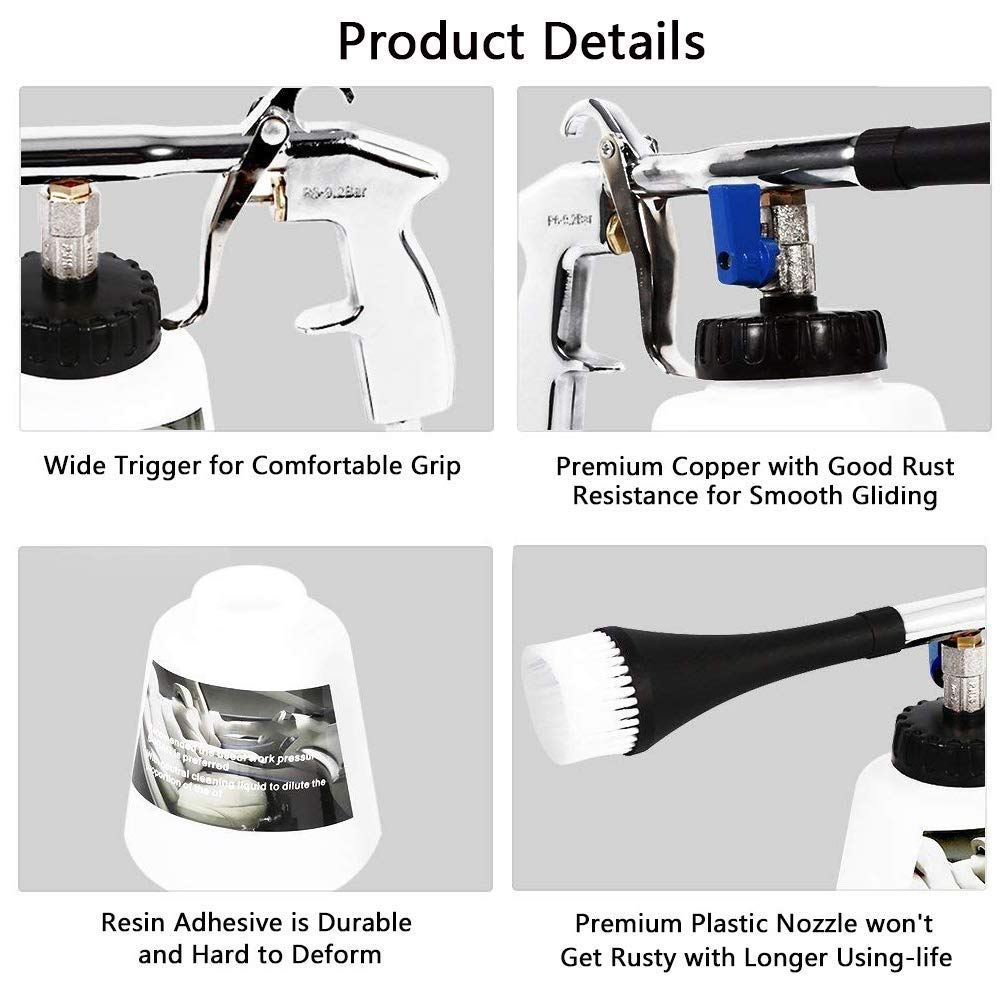 Car Cleaning Gun with 1L Kettle and Brush High Pressure Interior Exterior Washer Gun Nozzle Sprayer Gun Foam Lance by Chemical Guys (Image #6)
