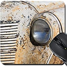 MSD Suqare Mousepad 8x8 Inch Mouse Pads/Mat design 24990762 Closeup of headlights on a weathered rusty vintage 1950