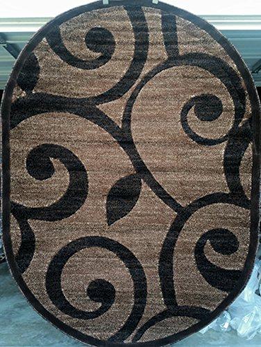 Brown Oval Rug - Modern Oval Area Rug Brown Design #154 Americana (5 Feet 2 Inch X 7 Feet 3 Inch )