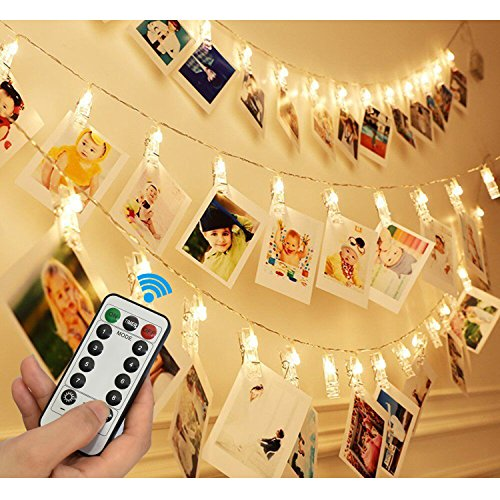 20 LED Photo Clip Remote String Lights, KingYue 8.2 Feet 8 Modes Fairy String Lights, Home/Party/Christmas Decor Lights for Hanging Photos Pictures, Memos and Artwork, Warm White (Battery - A Picture Put On Glasses
