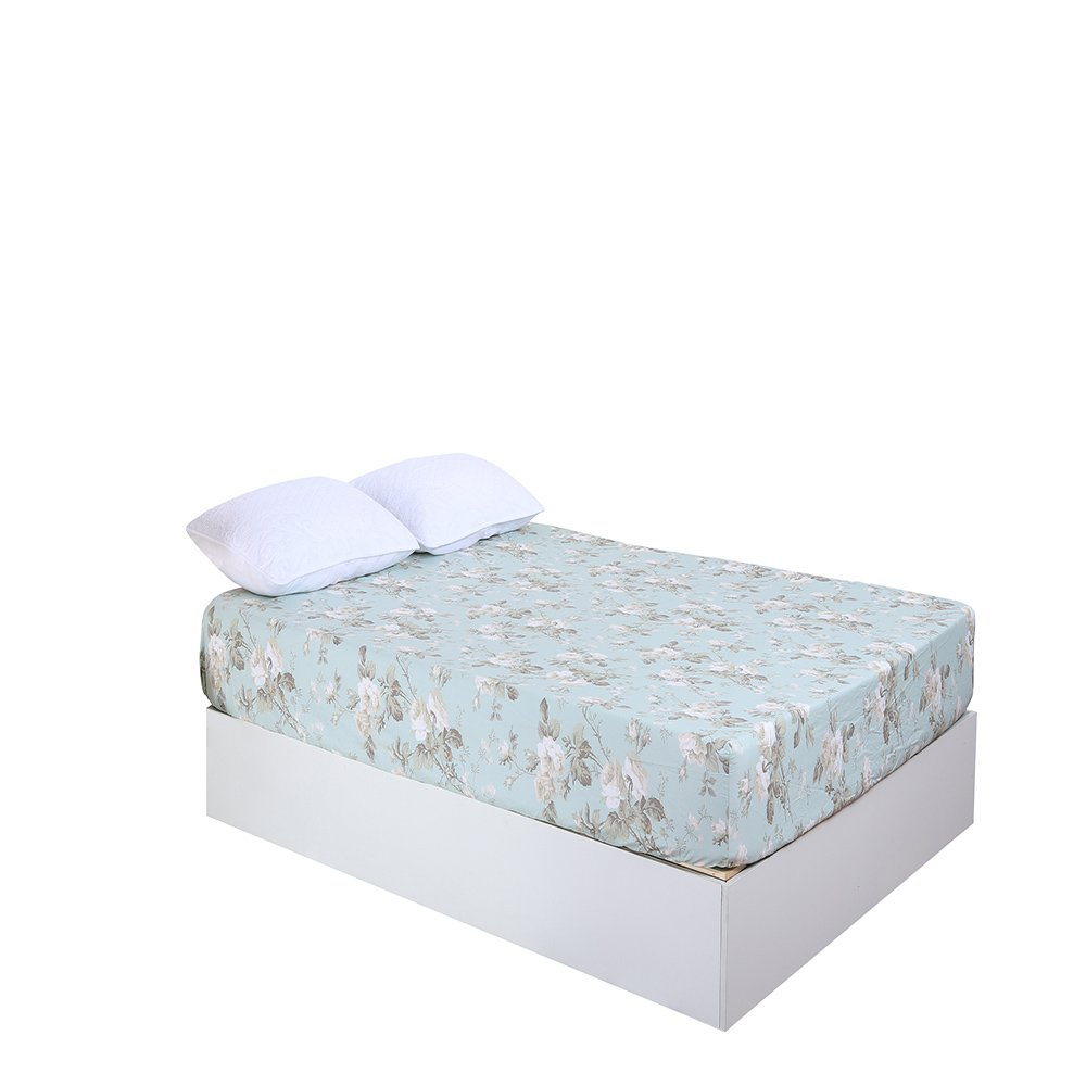 Softta Luxury Full Size Floral Farmhouse Bedding Design Fitted sheet 800 Thread Count 100% Egyptian Cotton Light blue