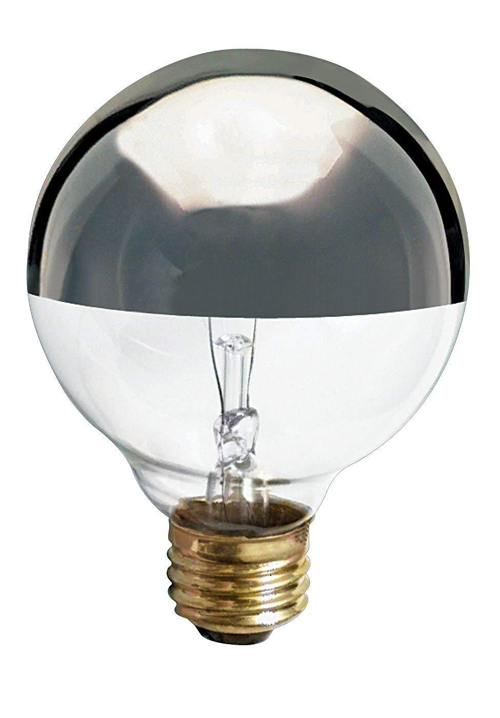 Satco 25G25/SL Incandescent Globe Light, 25W E26 G25, Silver Crown Bulb [Pack of 24]