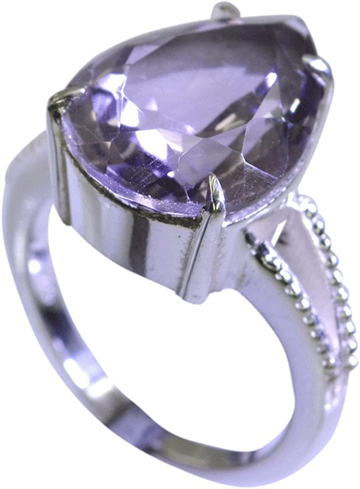 55Carat Real Amethyst February Birthstone Chakra Healing Silver Ring for Men Pear Cut Size 5,6,7,8,9,10,11,12