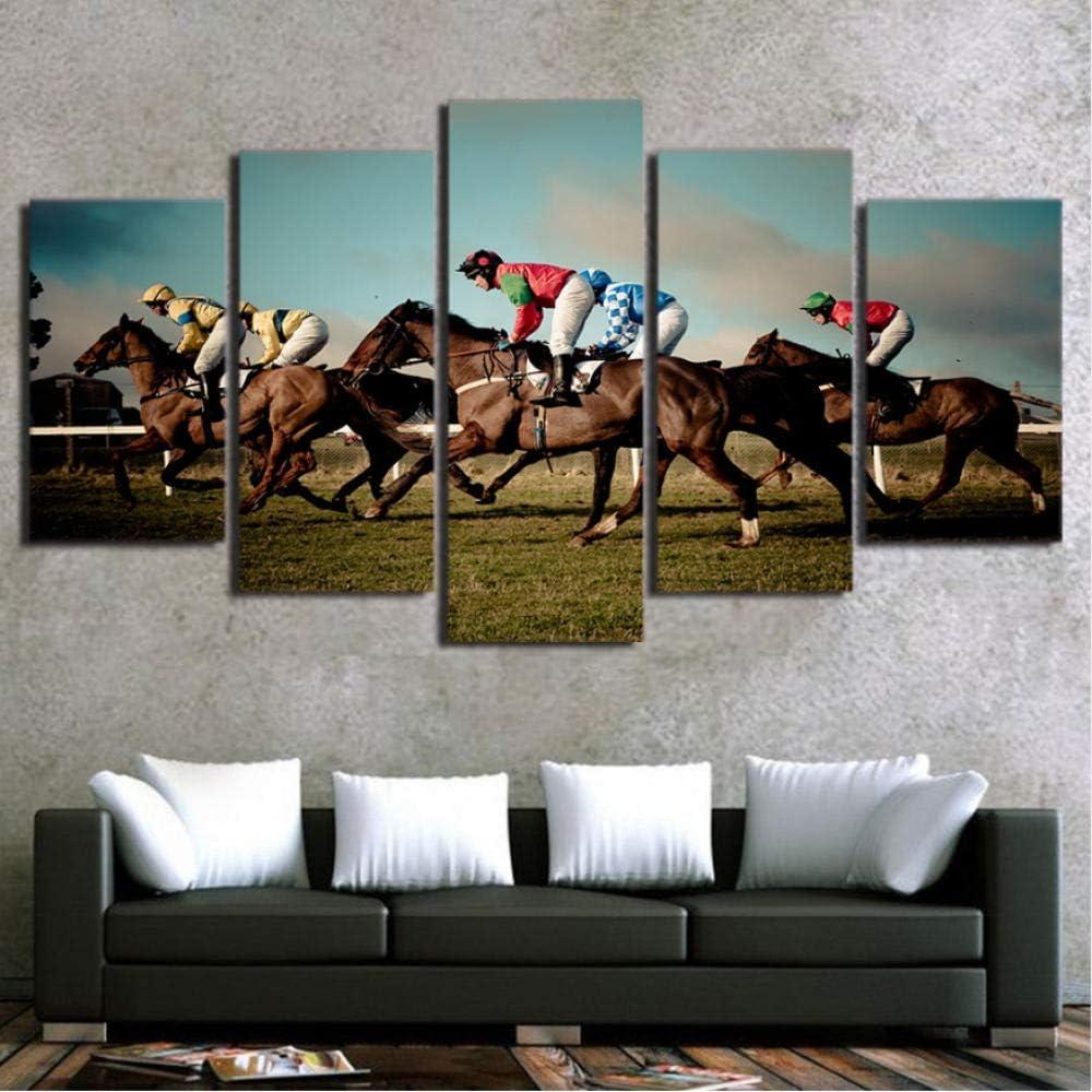 Nuevo estilo de arte de pared cuadros modulares cartel de la venta caliente de la casa pintura 5 Panel de impresión HD juego de carreras de caballos pasillo decoración para el hogar