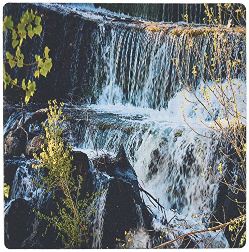 3Drose 8 X 8 X 0.25 Inches Mouse Pad Fast Moving Waterfall Flowing Over Rocks at Baker Dam in Southern, Utah with Hues of Blue and Green (mp_49677_1) by 3dRose