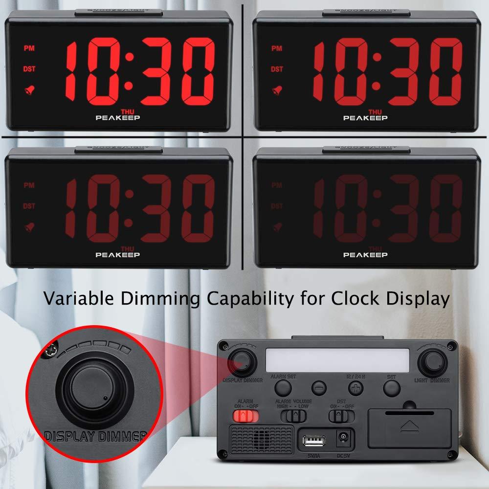 Amazon.com: Peakeep - Reloj despertador digital de luz ...