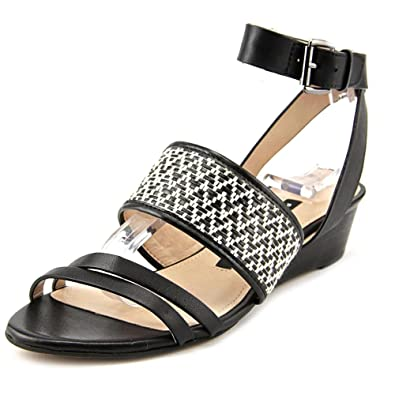 c6d43f802f89 Amazon.com  French Connection Wiley Open Toe Leather Wedge Sandal  Shoes