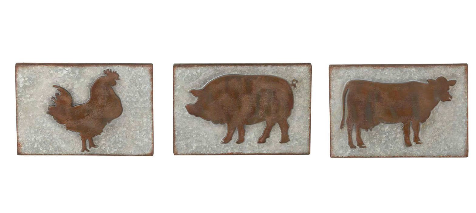 Midwest-CBK Set of 3 Rustic Farm Animal Wall Decor Galvanized Metal