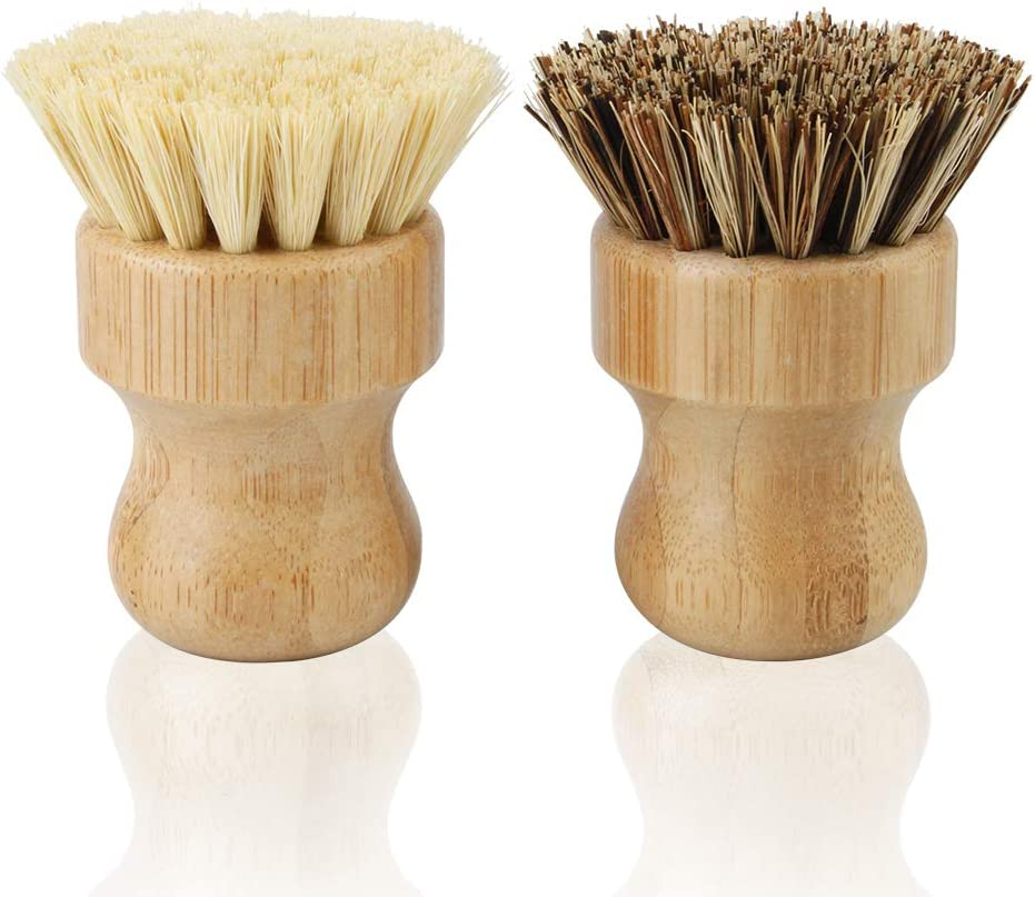 2 Pack Bamboo Dish Scrub Brush, Picowe Natural Scrub Cleaning Brush Vegetable Brush for Dishes Cast Iron Pots Pans, Used in Bathroom Kitchen Sink Household Cleaning