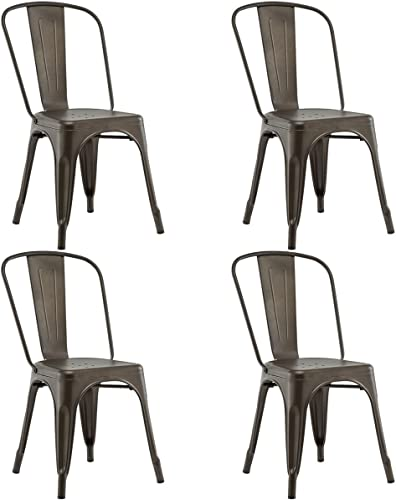 Costway Set of 4 Tolix Style Dining Chair Metal Stackable Industrial Vintage Chic High Back Indoor Outdoor Dining Bistro Caf Kitchen Side Chair Copper